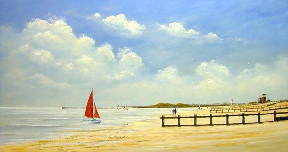 acrylic painting techniques 6 Морской пейзаж