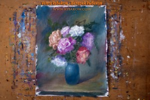 flowers art lesson 7 300x199 Как нарисовать букет цветов маслом