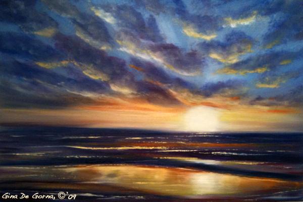 sunset oil painting demo 1 Как рисовать закат. Урок от Джины де Горно