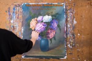 flowers art lesson 8 300x199 Как нарисовать букет цветов маслом