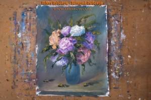 flowers art lesson 9 300x199 Как нарисовать букет цветов маслом